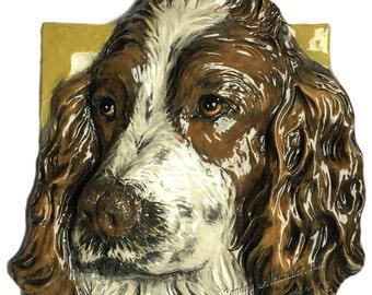 English Springer Spaniel Dog Tile CERAMIC Portrait Sculpture 3d Art Tile Plaque FUNCTIONAL ART by Sondra Alexander Made to Order