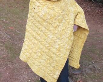 Golden Fleece Asymmetrical Hand Knit Bfl Poncho