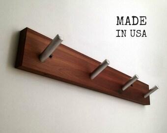 Rustic Coat Rack, Recycled Wood, Four Hooks
