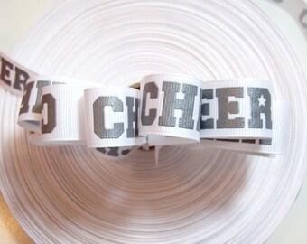 White Cheer Ribbon, Offray Cheer Grosgrain Ribbon 7/8 inch wide x 8 yards, Gray Writing