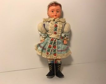 Antique German Celluloid Doll Petticoat Boots Puffy Sleeves Souvenier