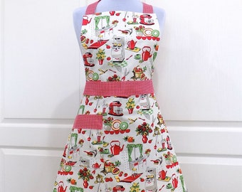 Womens Full Apron Vintage Style Kitchen Apron with Pocket 50's