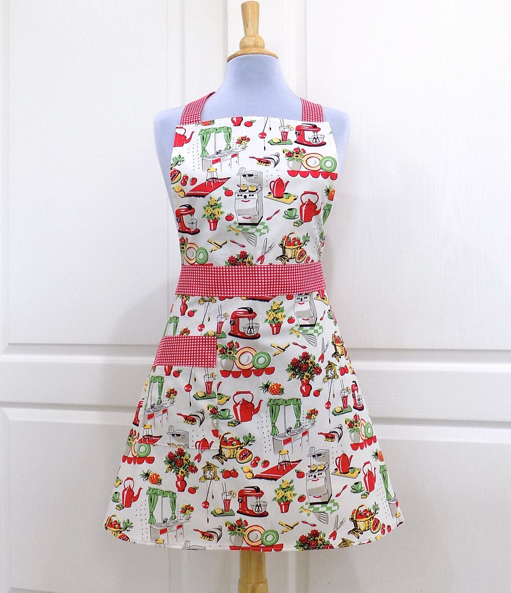 Vintage Chic Womens Full Apron 50's Kitchen Aprons With