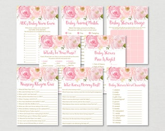 Soft Pink Floral Baby Shower Games Package / Floral Baby Shower / Watercolor Floral / 8 Printable Games / INSTANT DOWNLOAD A170