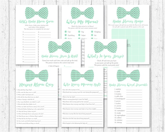 Cute Bow Tie Baby Shower Games Package Bow Tie Baby Shower