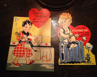 Vintage Pair of 1950s Shower and Radiator Valentines