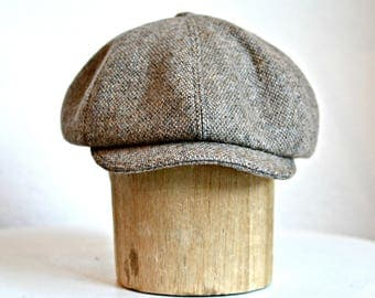 "Men's Newsboy Hat in Vintage Brown and Taupe Wool - Men's Cap - Wool Hat - Size 23"" to 23 1/4"""