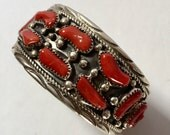 Native American Sterling Silver Red Coral Cuff Vintage Bracelet Signed