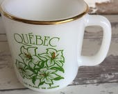 Vintage Advertising Milk Glass Mug - Quebec - Green and Gold