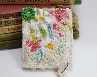 BROOCH Textile - hand painted and stitched - worked on French linen