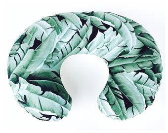 NURSING PILLOW SLIPCOVER / Zipper closure/ Leaves  cotton print with soft ivory Flat minky / modern baby nursery gift/ Brand new fabric!