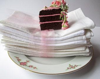 Vintage Dinner Napkins White Cream Damask Set of Eleven - Weddings Tea Parties