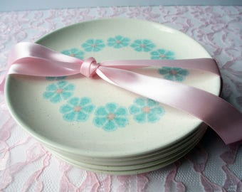 Vintage Bread and Butter Plates Taylor Smith Taylor Scandia Kristina Pink Aqua Floral Set of Six