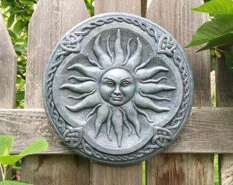 Celtic Sun Goddess Garden Art Sculpture (Bluestone) Concrete Plaque