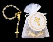 40 Mini Rosary Favors - Baby Boy Baptism Favors - Christening Favors - Organza Bag - Rosary Favors - Gold - Mini Rosary - Cross