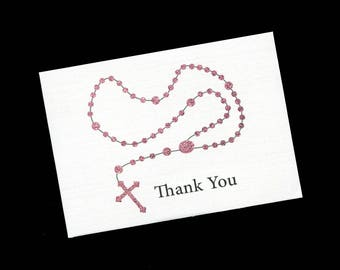 First Communion Thank You Cards - Baptism - Christening - Thank You Cards - Note Cards - Blank - Pink Rosary - Set of 20