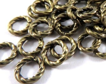 50 Antique Gold Jump Ring 6mm Brass Twisted Fancy Open 16 gauge 6mm Outside - 50 pc - 3495