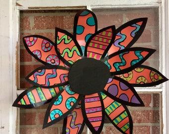 Flower door decoration, summer door decor, metal flower, summer door hanger