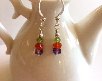 Tiny Gemstone Drop Earrings-Lightweight Earrings