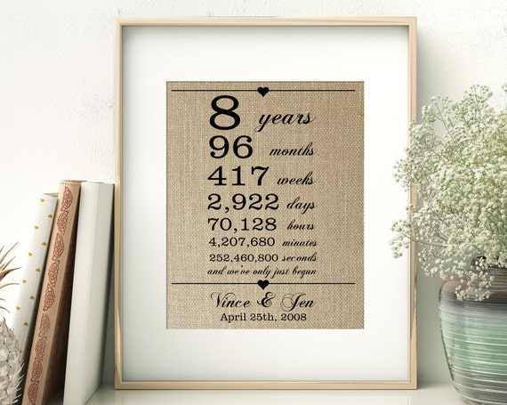 8 Year Wedding Anniversary Gifts For Her: 8 Years Together Years Months Weeks Days Hours By