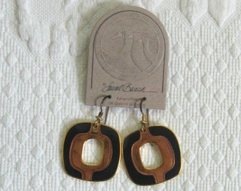 black dangling earrings for pierced ears . Laurel Burch . geometric earrings . dangling geometrical earrings NOS