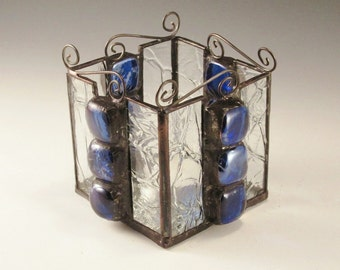 Stained Glass Candle Box - Crackle Glass with Cobalt Blue Square Nuggets