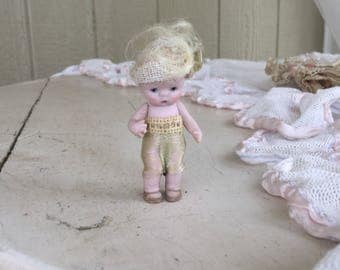 Antique German Tiny Bisque Miniature Girl Toddler Doll in Original Clothes 1920's