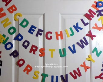 "Rainbow Alphabet Garland...26... 2 1/2"" letters...party decor...Photo Prop...childrens birthday party...80 lb card stock...machine thread!"