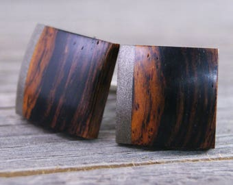 Wooden Cufflinks: Nicaraguan Cocobolo with M3 Aluminum Accents