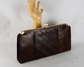 Vintage Envelope Handbag Brown Reptile Skin Reversible Handle | Clutch Shoulder or Handle