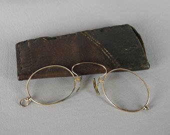 Antique Pince Nez Eyeglasses Eyewear C Bridge Spectacles with Leather Case