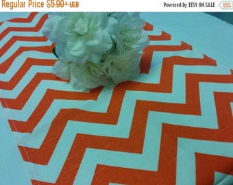 ON SALE NOW Sample Sale Runner - Zigzag orange and white zig zag table  runner Chevron clearance repost