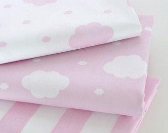 4334 - Cloud & Stripe Cotton Fabric - 62 Inch (Width) x 1/2 Yard (Length)