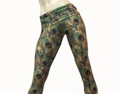 Yoga Pants - Workout Clothes - Hot Yoga - Fitness - Green - Peacock Pants - High Waist - Fold Over - Capri - SXY Fitness - Handmade - USA -