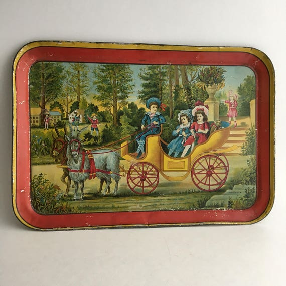 "Early 1900s Tin Color Litho Tray Children in Goat Cart 13""x9"""