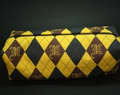 Boxy Makeup Bag - Hufflepuff House Argyle Print Zipper - Pencil Pouch - Wizarding World of Harry Potter