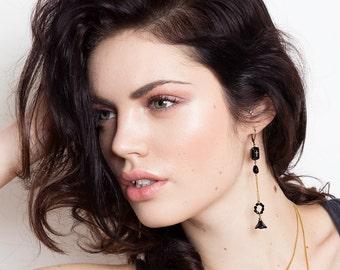 Long Black Mismatched Earrings - Asymmetrical Earrings Vintage Pair - Ciccone Inspired Earrings (SD1033)