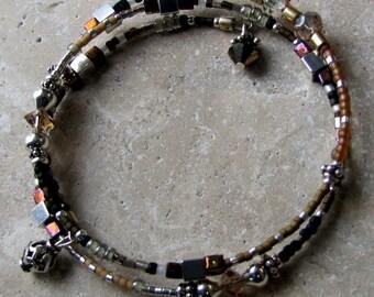 2 1/2 Loop Memory Wire Bracelet, Sterling, Delica, Sead Beads, Black Naturals, Comfortable Medium, Britz Beads Supply
