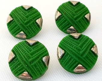 Vintage 1930s Art Deco Buttons Set of Four Green Pressed Glass Buttons 13 mm Shank Buttons