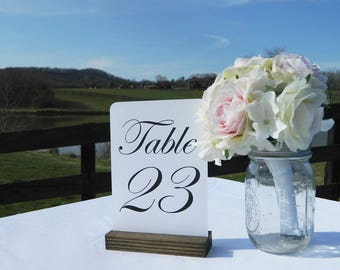 Table Number Holder + Rustic Wedding + Rustic Wood Table Number Holders (5inch)