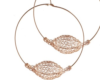 ROSE Gold extra large hoop earrings - handmade mesh bead - Wire Crocheted bubble wire work jewelry - Giant hoops - Unique hoop earrings