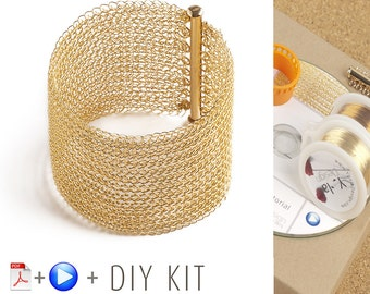 Cuff Bracalet Kit, Bracelet pattern Kit, Wire crochet pattern, Crochet jewelry Kit, Jewelry Making Kit, Crochet Bracelet kit