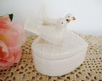 vintage heart white doves trinket box ring holder wedding engagement