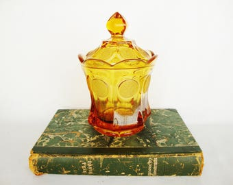 vintage amber glass candy dish with lid coin jar fostoria eagle and torch