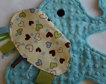Baby Blue Heart Elephant Shaped Blanket Sensory Lovey - Icing On The Cupcake