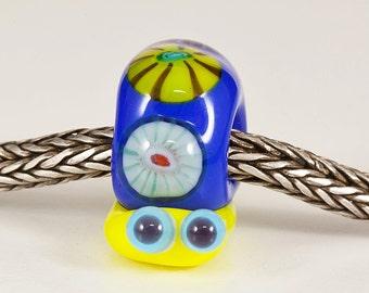 Blue Murrini Snail Lampwork Big Hole Bead