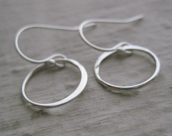 Sterling Silver Circle Link Earrings- Round, Gift, Simple, Versatile, Everyday