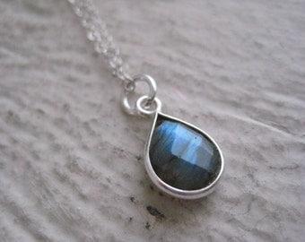 Labradorite & Sterling Silver Necklace- Gemstone, Chain, Bezel, Gift, Wedding, Charm, Drop