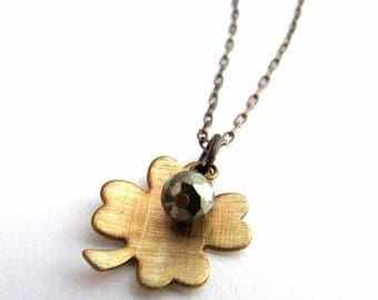 Shamrock Necklace | Four Leaf Clover Necklace | Good Luck Necklace | St Patrick's Day Necklace | Irish Jewelry | Clover Charm Pyrite