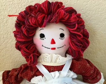 Raggedy Ann Doll,  Cranberry Dress - Handmade and Ready to Ship, 15 inches tall